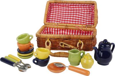 Puppengeschirr Porzellan Picknickkorb